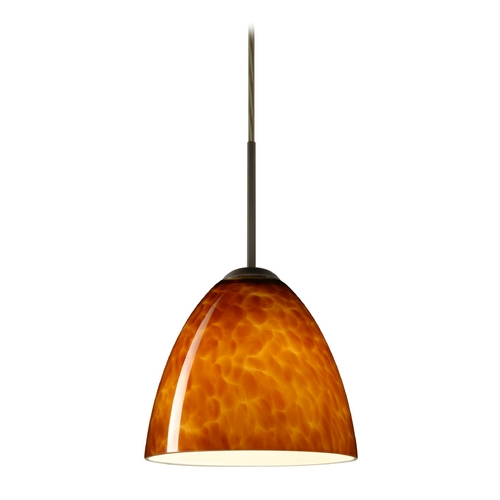 Besa Lighting Modern Pendant Light with Amber Glass in Bronze Finish 1JT-447018-BR