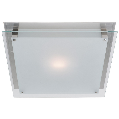 Access Lighting Access Lighting Brushed Steel Modern Flushmount Light with White Glass 50030-BS/FST