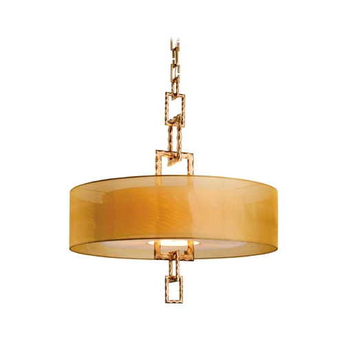 Troy Lighting Drum Pendant Light with Beige / Cream Shades FF2876