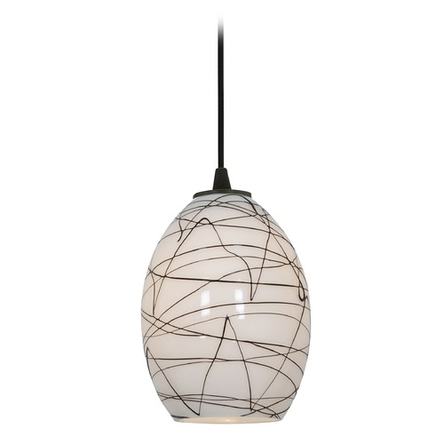 Access Lighting Modern Mini-Pendant Light with White Glass 28023-1C-ORB/BLWH