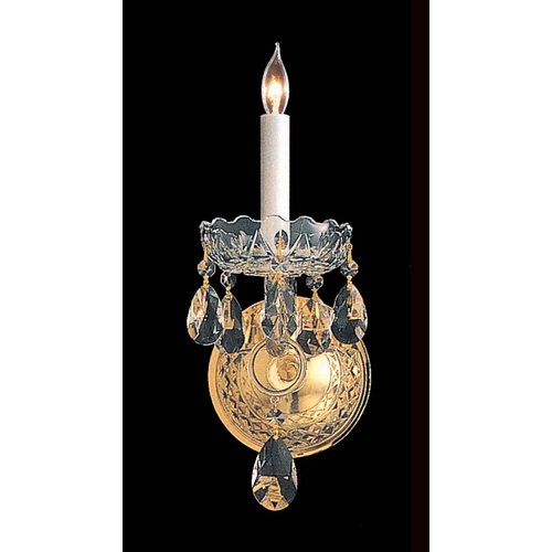 Crystorama Lighting Crystal Sconce Wall Light in Polished Brass Finish 1101-PB-CL-MWP