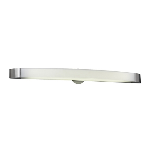 PLC Lighting Modern Bathroom Light with White Glass in Satin Nickel Finish 3378 SN