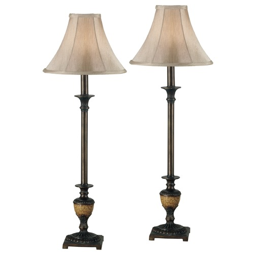 Kenroy Home Lighting Table Lamp Set with Beige / Cream Shade in Crackle Bronze Finish 30944