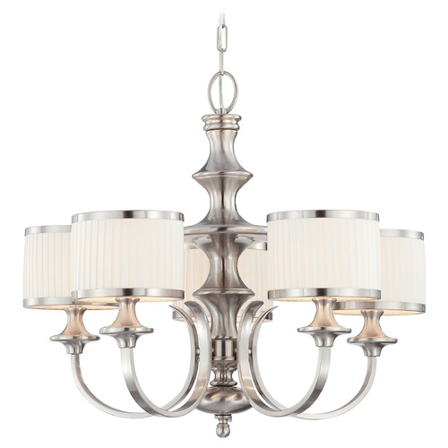 Nuvo Lighting Modern Chandelier with White Shades in Brushed Nickel Finish 60/4735
