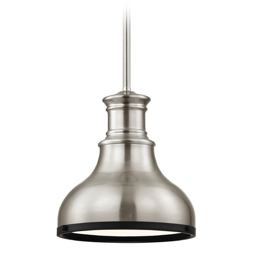 Design Classics Lighting Industrial Metal Pendant Light Satin Nickel and Black 8.63-Inch Wide 1761-09 SH1778-09 R1778-07
