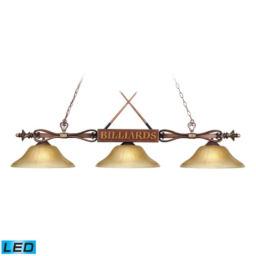 Elk Lighting Elk Lighting Designer Classics Wood Patina LED Billiard Light with Bowl / Dome Shade 194-WD-G6-LED