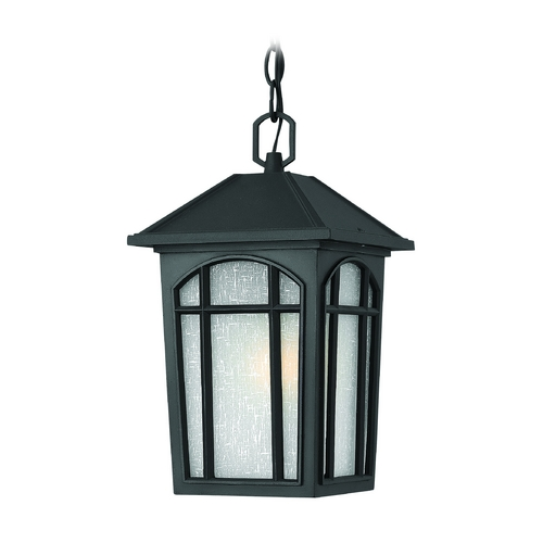 Hinkley Lighting LED Outdoor Hanging Light with White Glass in Black Finish 1982BK-LED