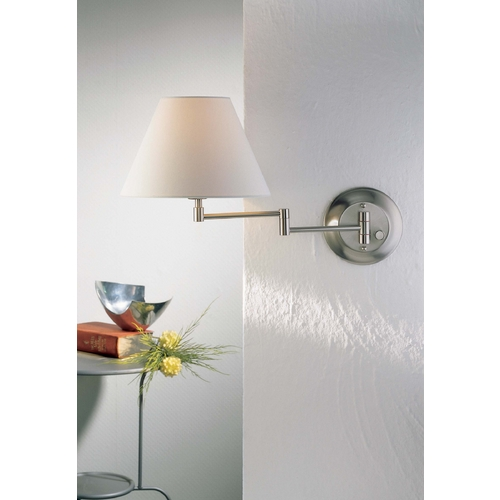 Holtkoetter Lighting Holtkoetter Swing Arm Lamp with White Shade in Satin Nickel Finish 8164 SN SWRG