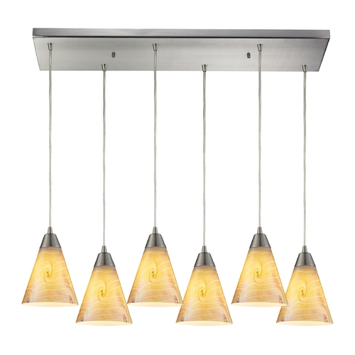 Elk Lighting Multi-Light Pendant Light with Iridescent Glass and 6-Lights 10337/6RC