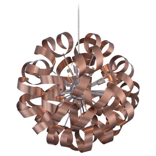 Quoizel Lighting Mid-Century Modern Pendant Cluster Light Copper Ribbons by Quoizel Lighting RBN2823SG