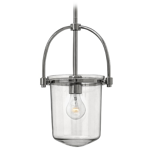 Hinkley Lighting Hinkley Lighting Clancy Polished Nickel Pendant Light with Cylindrical Shade 3031PN