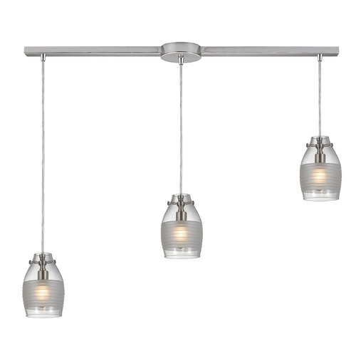 Elk Lighting Elk Lighting Carved Glass Brushed Nickel Multi-Light Pendant with Bowl / Dome Shade 46161/3L