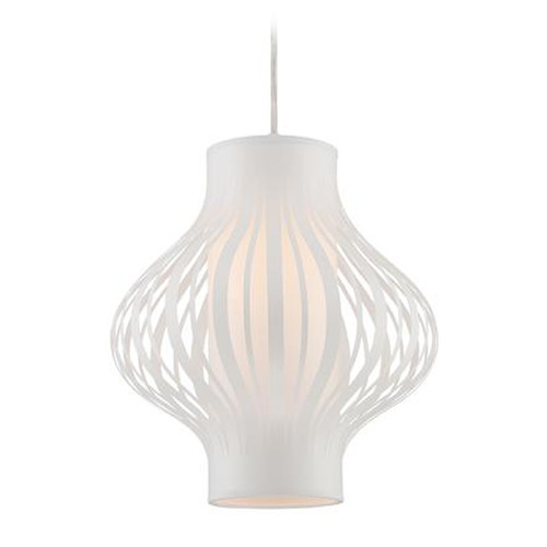 Lite Source Lighting Lite Source Lanica White Pendant Light with Cylindrical Shade LS-18770WHT