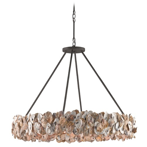 Currey and Company Lighting Currey and Company Oyster Textured Bronze / Natural Pendant Light 9672