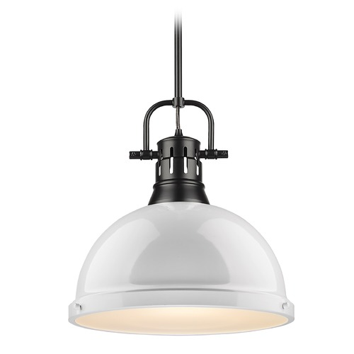Golden Lighting Golden Lighting Duncan Black Pendant Light with White Shade 3604-LBLK-WH