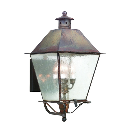 Troy Lighting Outdoor Wall Light with Clear Glass in Natural Rust Finish B9137NR