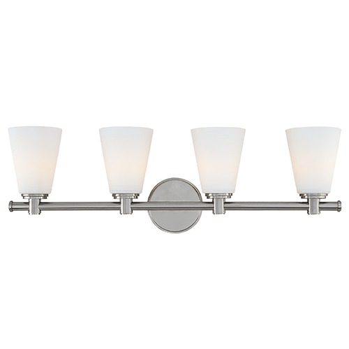 Hudson Valley Lighting Modern Bathroom Light with White Glass in Polished Nickel Finish 1844-PN
