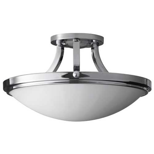Feiss Lighting Modern Semi-Flushmount Light with White Glass in Chrome Finish SF283CH