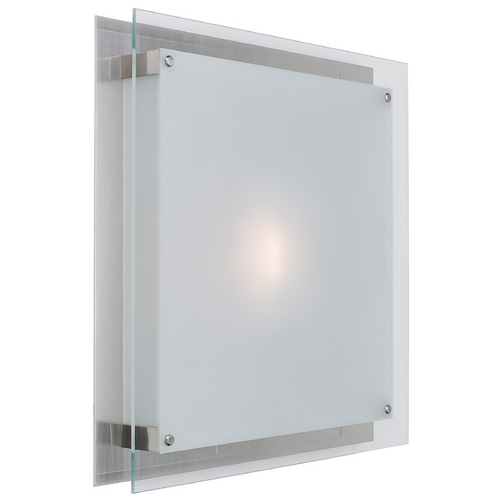 Access Lighting Modern Flushmount Light with White Glass in Brushed Steel Finish 50031-BS/FST