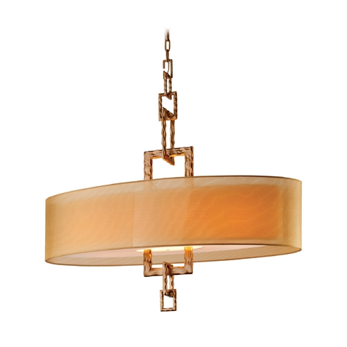 Troy Lighting Drum Pendant Light with Beige / Cream Shade FF2878