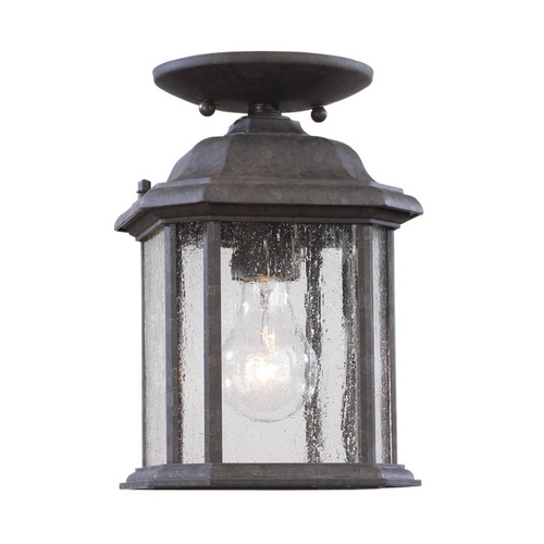 Sea Gull Lighting Outdoor Hanging Light with Clear Glass in Oxford Bronze Finish 60029-746