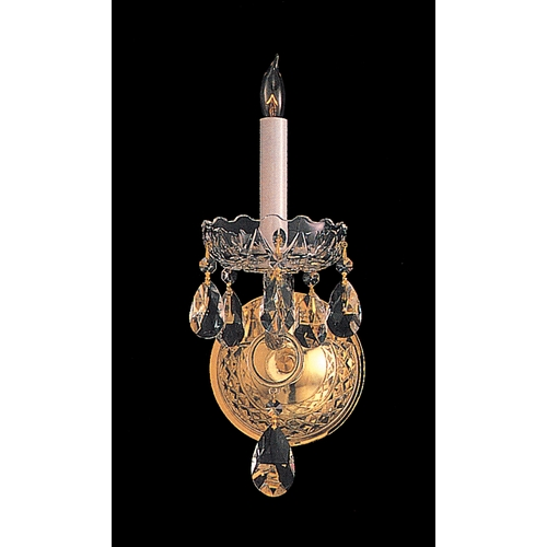 Crystorama Lighting Crystal Sconce Wall Light in Polished Brass Finish 1101-PB-CL-S