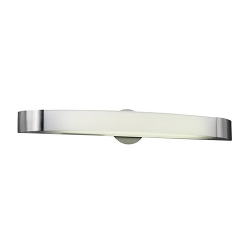 PLC Lighting Modern Bathroom Light with White Glass in Satin Nickel Finish 3376 SN