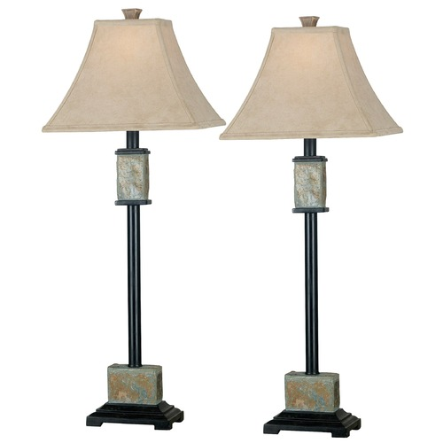 Kenroy Home Lighting Table Lamp Set with Beige / Cream Shade in Natural Slate Finish 31201
