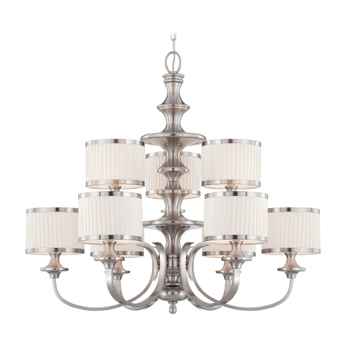 Nuvo Lighting Modern Chandelier with White Shades in Brushed Nickel Finish 60/4739