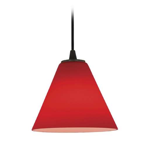 Access Lighting Access Lighting Tali Inari Silk Brushed Steel Mini-Pendant with Conical Shade 28004-2C-BS/RED