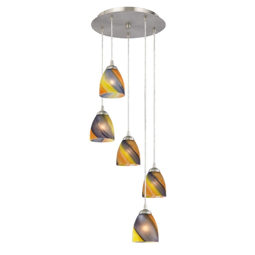 Design Classics Lighting Multi-Light Pendant Light with Five Art Glass Bell Shades 580-09 GL1015MB