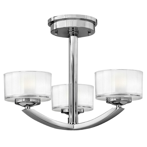 Hinkley Lighting Semi-Flushmount Light with White Glass in Chrome Finish 3871CM