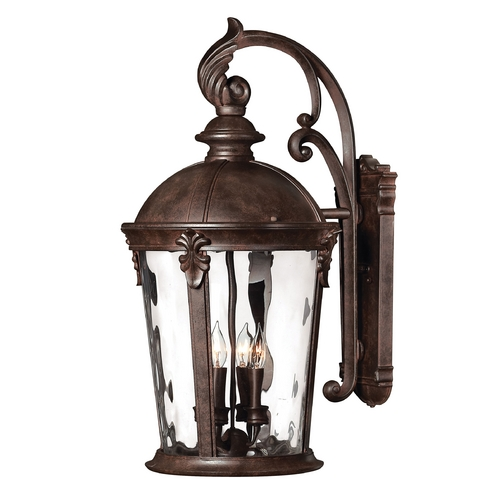 Hinkley Lighting LED Outdoor Wall Light with Clear Glass in River Rock Finish 1899RK-LED