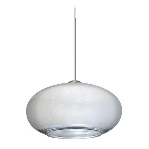 Besa Lighting Besa Lighting Brio Satin Nickel LED Mini-Pendant Light with Oblong Shade 1XT-2492SF-LED-SN