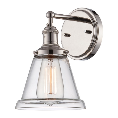 Nuvo Lighting Sconce Wall Light with Clear Glass in Polished Nickel Finish 60/5412