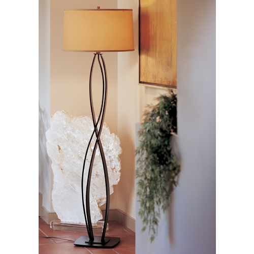 Hubbardton Forge Lighting Hubbardton Forge Lighting Almost Infinity Mahogany Floor Lamp with Drum Shade 232686-03-276