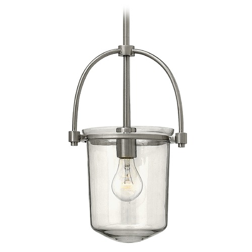 Hinkley Lighting Hinkley Lighting Clancy Brushed Nickel Pendant Light with Cylindrical Shade 3031BN