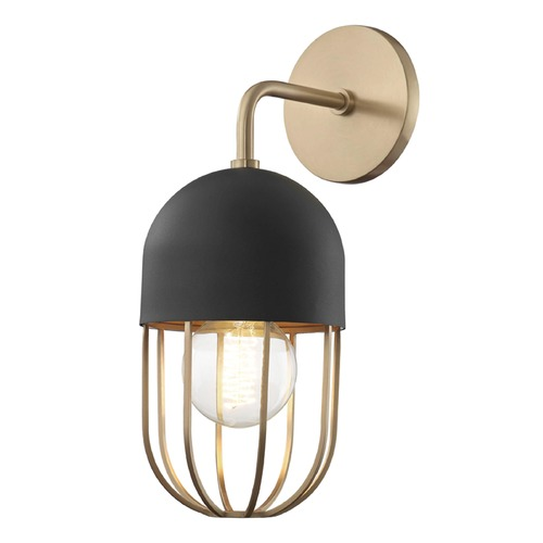 Hudson Valley Lighting Mid-Century Modern Sconce Brass Mitzi Haley by Hudson Valley H145101-AGB/BK