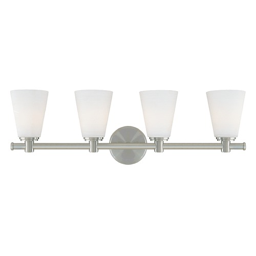 Hudson Valley Lighting Modern Bathroom Light with White Glass in Satin Nickel Finish 1844-SN