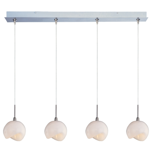 ET2 Lighting Modern Low Voltage Multi-Light Pendant Light with White Glass and 4-Lights E94906-10SN