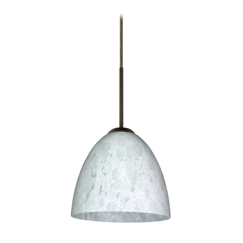 Besa Lighting Modern Pendant Light with White Glass in Bronze Finish 1JT-447019-BR