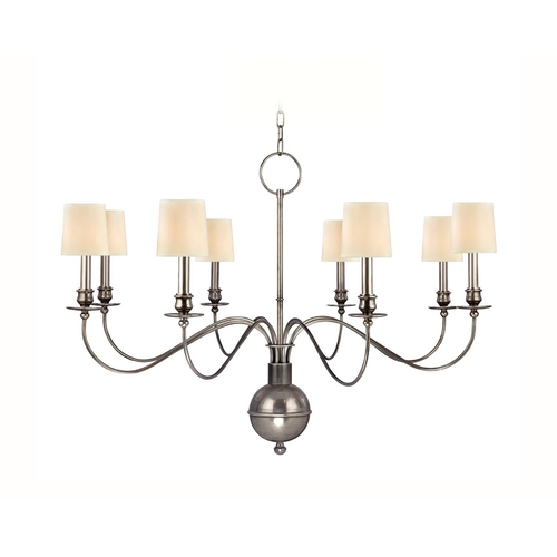 Hudson Valley Lighting Chandelier with White Paper Shades in Aged Silver Finish 8218-AS