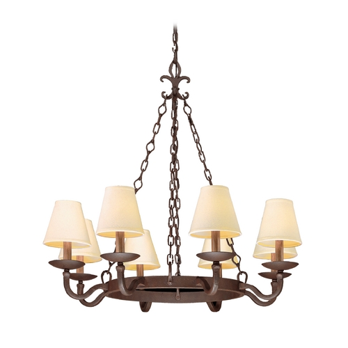 Troy Lighting Chandelier with Beige / Cream Shades in Burnt Sienna Finish F2715