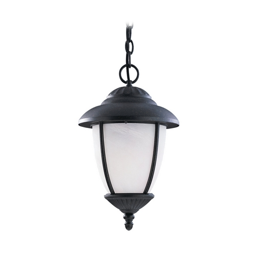Sea Gull Lighting Outdoor Hanging Light with White Glass in Forged Iron Finish 60048-185