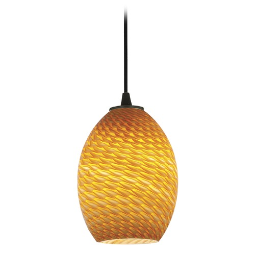 Access Lighting Modern Mini-Pendant Light with Amber Glass 28023-1C-ORB/AMBFB