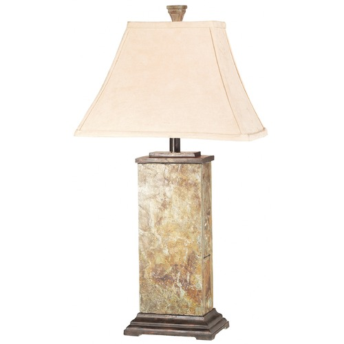 Kenroy Home Lighting Table Lamp with Beige / Cream Shade in Natural Slate Finish 31202