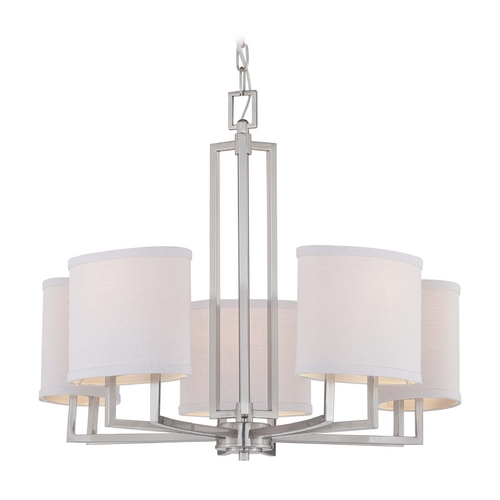 Nuvo Lighting Modern Chandelier with Grey Shades in Brushed Nickel Finish 60/4755