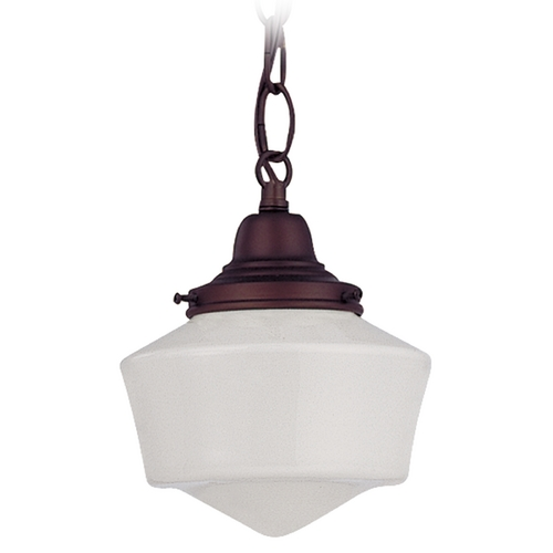 Design Classics Lighting 6-Inch Schoolhouse Mini-Pendant Light with Chain in Bronze Finish FC3-220 / GF6 / B-220