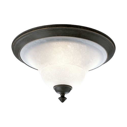 Progress Lighting Progress Flushmount Light with White Glass in Espresso Finish P3718-84