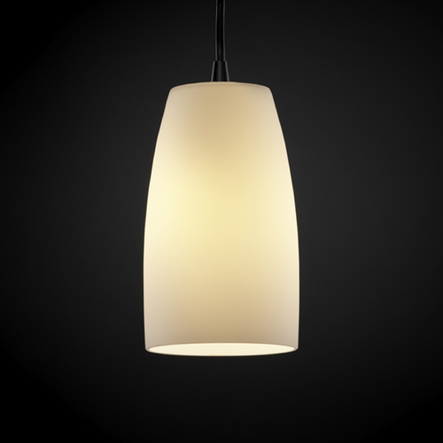 Justice Design Group Justice Design Group Fusion Collection Mini-Pendant Light FSN-8816-28-OPAL-DBRZ
